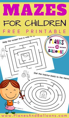 Simple Mazes For Kids (Free Printable) - Planes & Balloons
