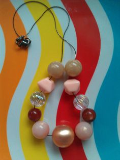 """Peachy Keen"" Vintage Lucite Beaded Necklace ($22)"
