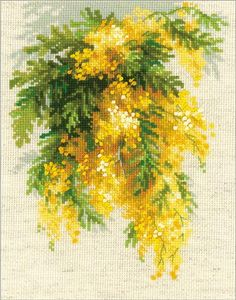 RIOLIS 1615 Mimosa Counted cross stitch kit Aida 14 count for sale online Cross Stitch Designs, Cross Stitch Patterns, Cross Stitch Material, Allium Flowers, Snow Maiden, Marigold Flower, Counted Cross Stitch Kits, Cross Stitching, Etsy