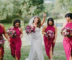 Hot Pink Halter neck Grecian Style Bridesmaid dresses