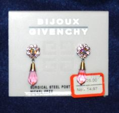 Bijoux Givency Pink Floral Dangle Earrings NWT