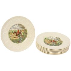 Eight Wedgwood Creamware Fox Hunt Plates, Vintage. Clear and Crisp Colors | From a unique collection of antique and modern dinner plates at https://www.1stdibs.com/furniture/dining-entertaining/dinner-plates/