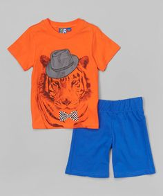 Loving this Orange Tiger Tee & French Terry Bermuda Shorts - Toddler & Boys on #zulily! #zulilyfinds