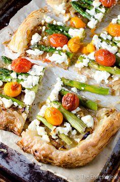 Make-Ahead Asparagus Goat Cheese and Cherry Tomato Breakfast Tart