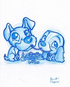 Blue Doodle Lady and the Tramp - Trend Parks Disney 2020 Cartoon Drawings, Disney Art Drawings, Disney Doodles, Sketches, Drawings, Cute Art, Disney Art, Art, Cute Drawings