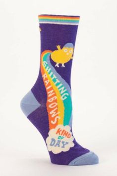 Shitting Rainbows Kind of Day socks. Fits Shoe Size 5-10.  Rainbow Socks by Blue Q. Accessories - Socks South Dakota