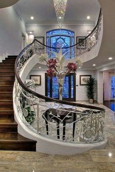 Ideas house entrance architecture grand staircase for 2020 Grand Staircase, Staircase Design, Staircase Ideas, Luxury Staircase, Stair Design, Black Staircase, Curved Staircase, Spiral Staircases, House Goals