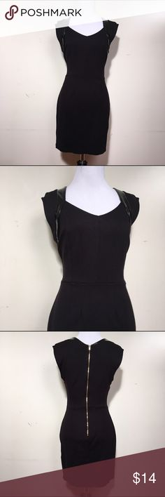 """Forever 21 black pencil dress medium Sexy black pencil dress with pleather detail on the sleeves. The bust is 32"""", the waist is 26"""" and the length is 32 1/2"""". Forever 21 Dresses Mini"""