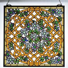 Meyda Tiffany Tiffany Floral Shamrock Garden Stained Glass Window, $513.00