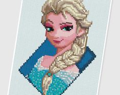 PDF Cross Stitch pattern  0027.Anna&Elsa Frozen  by PIXcross