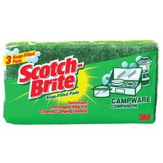 Scotch-Brite Campware Heavy-Duty Scrub Sponges, 3pk  Soap filled..specifically for camp cookware