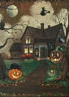 Halloween Painting, Halloween Cat, Vintage Halloween, Halloween Pictures, Halloween Treats, Spooky Trees, Spooky Scary, Halloween Silhouettes, Postcard Printing