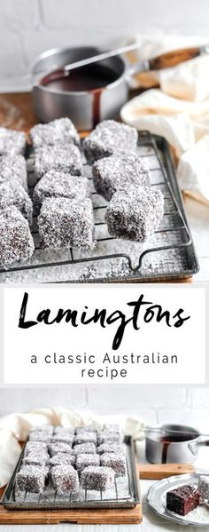 Lamingtons - a vanilla sponge dipped in chocolate and coated in coconut - Easy Recipes & Dessert Australian Desserts, Australian Food, Australian Lamington Recipe, Australian Candy, Australian Recipes, Baking Recipes, Cake Recipes, Dessert Recipes, Bake Sale Recipes