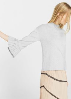 Pleated sleeves sweater -  Women | MANGO USA
