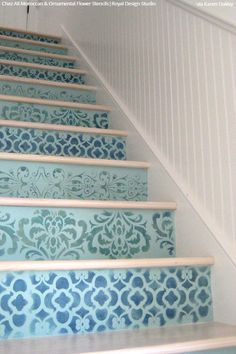 Simple to Sensational: 12 Stencil Ideas for Your Stairs - Painted Stair Risers using Moroccan, Floor, & Tile Stencils from Royal Design Studio Stenciled Stairs, Painted Stair Risers, Painted Staircases, Spiral Staircases, Painting Tile Floors, Painted Floors, Stencil Painting, Tile Stencils, Modern Staircase