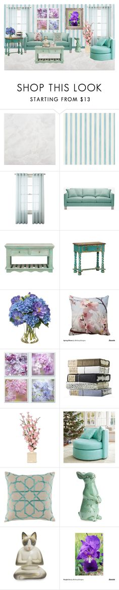 """""""Spring Flowers Living Room"""" by bethany-ransom ❤ liked on Polyvore featuring interior, interiors, interior design, home, home decor, interior decorating, SomerTile, Christian Lacroix, Royal Velvet and Aalto"""