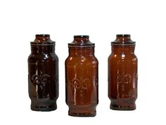 Set Of 3 Dark Amber Apothecary Jars Storage Containers by SanMonet, $45.00