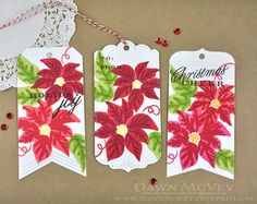 Poinsettia Bookmarks and Tag by Dawn McVey for Papertrey Ink (October 2014)