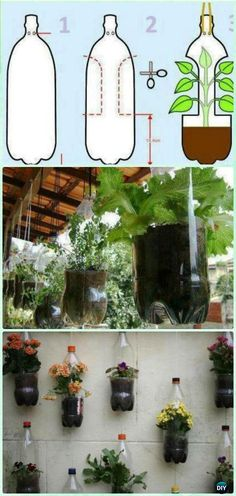 DIY Hanging Plastic Bottle Planter Garden Instructions - DIY Plastic Bottle Garden Projects DIY Plastic Bottle Garden Projects & Ideas: Collection of plastic bottle herbs, vegetables and flower gardening, water irrigation and
