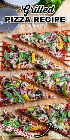This Grilled Pizza Recipe will show you how easy it is to grill pizza that is delicious with the perfect crispy, chewy pizza crust, smoky flavor, and melty cheese with your favorite toppings!  #GrilledPizza #Pizza #FlavorMosaic Potluck Recipes, Healthy Dinner Recipes, Real Food Recipes, Breakfast Recipes, Snack Recipes, Grilled Pizza Recipes, Pizza Flavors, Latest Recipe, Dessert For Dinner