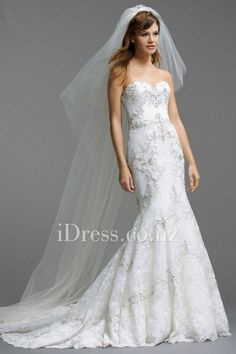 floral alencon lace sweetheart beaded fit and flare wedding gown from idress.co.nz