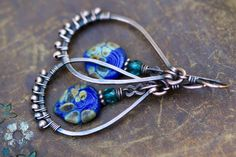 Rustic  Indigo Blue  earrings n296 . hand forged by Tribalis