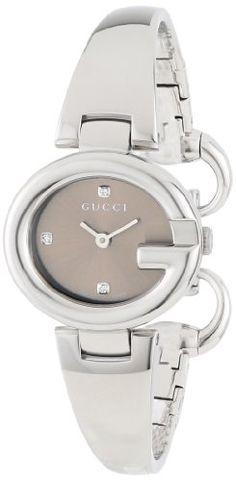 9412e394d2460 Gucci Women s YA134506 Guccissima Fashion Bangle Brown Diamond Marker Dial  Watch Luxury Watch Sale, Gucci