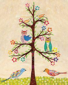 Children Decor Owl and Bird Tree Art Print16 x 20 by Sascalia, $55.00