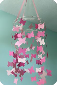 Really love this idea for simple decorations! butterfly mobile! Make it look just like pottery barns