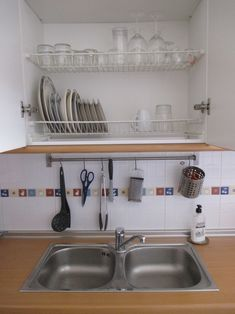 My Spanish Favorites Dish Drain Cupboard & A Cupboard above sink with no base so that wet dishes can drip dr ...