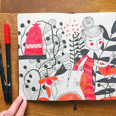 """Mireille (@mireillemarchand) on Instagram: """"Maybe is this page a little too much? Never mind, I needed it and the colors! #sketchbook…"""""""