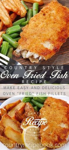 """Make easy and delicious oven """"fried"""" fish fillets. This recipe uses just a few simple ingredients to make an awesome fish dinner you will love! Country Oven Fried Fish - Make delicious oven fried fish - Just 10 minutes to make Best Fish Recipes, Fried Fish Recipes, Tilapia Recipes, Salmon Recipes, Seafood Recipes, Cooking Recipes, Dinner Recipes, Oven Recipes, Simple Fish Recipes"""