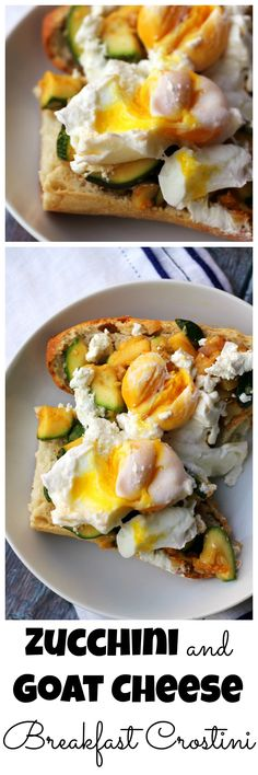 Breakfast, lunch, and dinner collide in these zucchini and goat cheese breakfast crostini that make for the perfect summer meal, no matter what time of day it is!