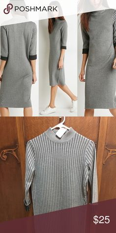 "Fall/winter must have! Heathered knit dress Forever 21 Contemporary - A Heathered Knit Dress In A Shift Silhouette With Sleek Pinstripes And Contrast Cuffs On Its 3/4 Sleeves. Ribbed Neckline Unlined, Midweight 76% Viscose, 24% Polyester  SIZE DETAILS: Measured From Small 43"" Full Length, 38"" Chest, 38"" Waist, 19"" Sleeve Length Forever 21 Dresses Midi"