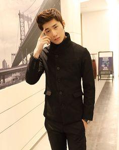 Korean Style Skinny Long Sleeve Lapel Men Black Wool Suit M/L/XL @202SJX08b