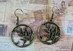 Vintage bronze Blumenranken Ohrringe - S2
