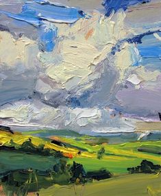 """We rounded the bend and looked down into the valley. The big Tassie sky canopied majestic and took us to another place. The sign on the road told us we were entering 'Paradise'. """"Welcome to Paradise"""", 15X20cm, oil on board. #abstractexpressionist #painting #artgallery"""