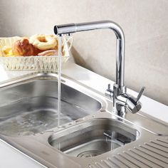 3 Way Dual Faucet Water Filter Tri Flow Kitchen Mixer Tap Sink Faucet 0509