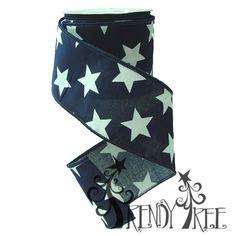 """2.5"""" Cotton Navy White Stars #TrendyTree"""