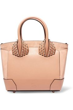 Christian Louboutin Eloise small spiked textured leather and nubuck tote