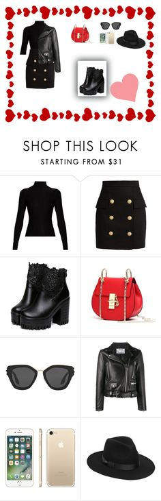 """Untitled #65"" by maida-salanovic ❤ liked on Polyvore featuring Acne Studios, Balmain, Prada and Lack of Color"