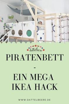 Ikea Hack - Piratenbett - kostenlose Montageanleitung A fancy and awesome DIY for a pirate bed that Ikea Kura Hack, Ikea Kura Bed, Ikea Hack Lit, Pirate Ship Bed, Diy Kallax, Pirate Bedding, Baby Room Boy, Ikea Organization, Diy Bett