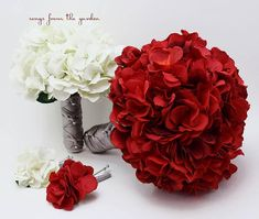 Red White Grey Silk Hydrangea Bridal & Bridesmaid Bouquet Groom's Best Man Boutonniere