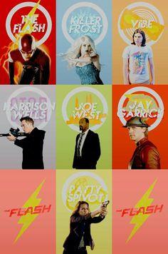 The Flash CW team + emblems