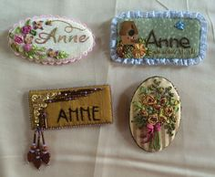 Anne Davies~ Ideas for stitching- Stitching Retreat July 2015 . . . Name tags or Brooch in Miniature Silk Ribbon Embroidery or Beads