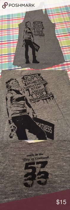 "5733 Tank Top - Gray - ""Ambition"" by Eddie Colla Handmade in the city of Oakland by the awesome team at 5733. Screen printed. Art by Eddie Colla. ""Ambition"" Tank in size Large. I wore it a few times when I first bought it, but it hasn't seen the light of day in several years. Give it a good 🏡 5733 Tops Tank Tops"