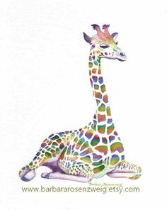 Magical Rainbow Giraffe Art Print Colorful by Barbara Rosenzweig. BUY NOW I'm just loving bringing these animals to life in vibrant rainbow fantasy colors! This giraffe is one of my favorites in my new Rainbow Animal Series. Perfect for your child's room!