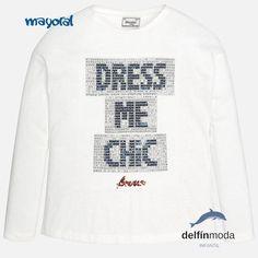 dfa74bdc1 Camiseta de manga larga MAYORAL niña juvenil letras de lentejuelas Mangas  Largas