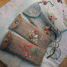 Embroidered soft glasses cases
