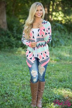 Just like the name says, this cardigan is simply the sweetest look for fall! We adore the beautiful color combination of mint, pink, navy, and cream - paired with the beautiful tribal print, it's a stunning look that pairs perfectly with jeans or leggings!